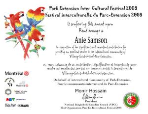 Plaque-Award-Anie-Samson-2008