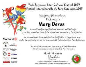 Plaque-Award-Mary-Deros